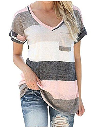 c1e0fcfdab24 LAEMILIA Damen T-Shirt Sommer Kurzarm Streifen Tops V-Neck Oberteil Mode  Weich Bluse Loose Casual