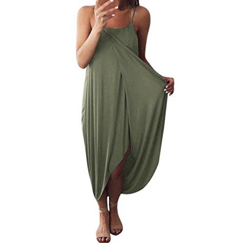 8c7aa5c985fb47 Yanhoo Frauen Kleid Sommer Lose Riemen Böhmischen Elegante Urlaub Lässig  Party Strand Kleid mit Schlitz Strandkleid Schulterfreies Mode Blusenkleid  ...